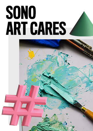 SoNo art cares with paintbrush and paint